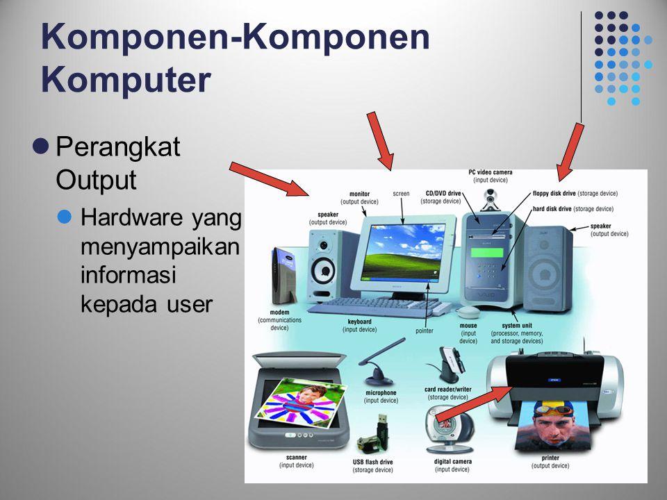 14 Komponen-Komponen Komputer  Perangkat Output  Hardware yang menyampaikan informasi kepada user