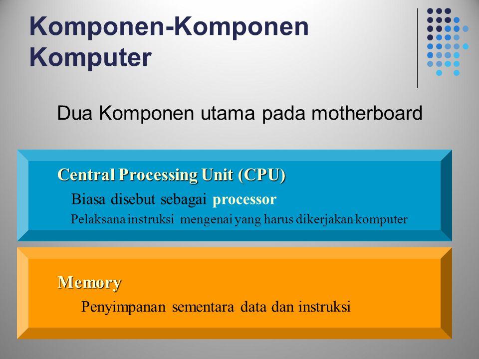 16 Komponen-Komponen Komputer Dua Komponen utama pada motherboard Central Processing Unit (CPU) Biasa disebut sebagai processor Pelaksana instruksi me