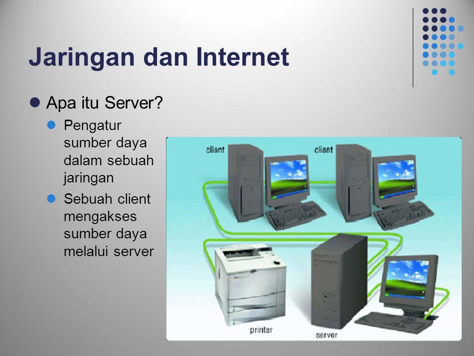 20 Jaringan dan Internet  Apa itu Server?  Pengatur sumber daya dalam sebuah jaringan  Sebuah client mengakses sumber daya melalui server