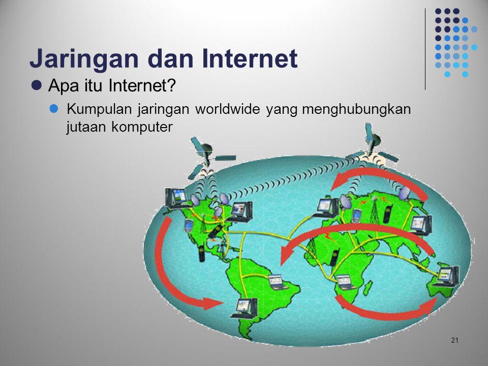 21 Jaringan dan Internet  Apa itu Internet?  Kumpulan jaringan worldwide yang menghubungkan jutaan komputer