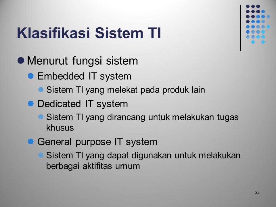 23 Klasifikasi Sistem TI  Menurut fungsi sistem  Embedded IT system  Sistem TI yang melekat pada produk lain  Dedicated IT system  Sistem TI yang