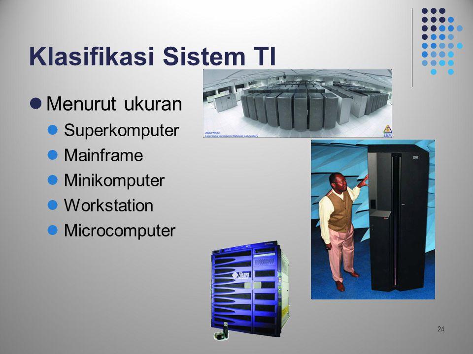 24 Klasifikasi Sistem TI  Menurut ukuran  Superkomputer  Mainframe  Minikomputer  Workstation  Microcomputer