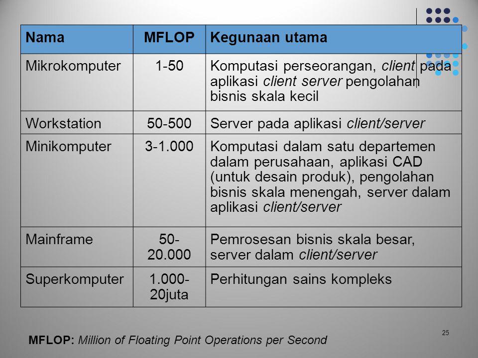 25 NamaMFLOPKegunaan utama Mikrokomputer1-50Komputasi perseorangan, client pada aplikasi client server pengolahan bisnis skala kecil Workstation50-500