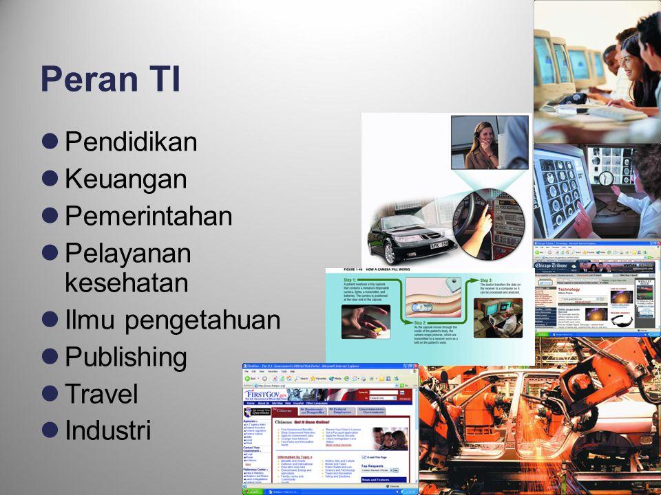 26 Peran TI  Pendidikan  Keuangan  Pemerintahan  Pelayanan kesehatan  Ilmu pengetahuan  Publishing  Travel  Industri