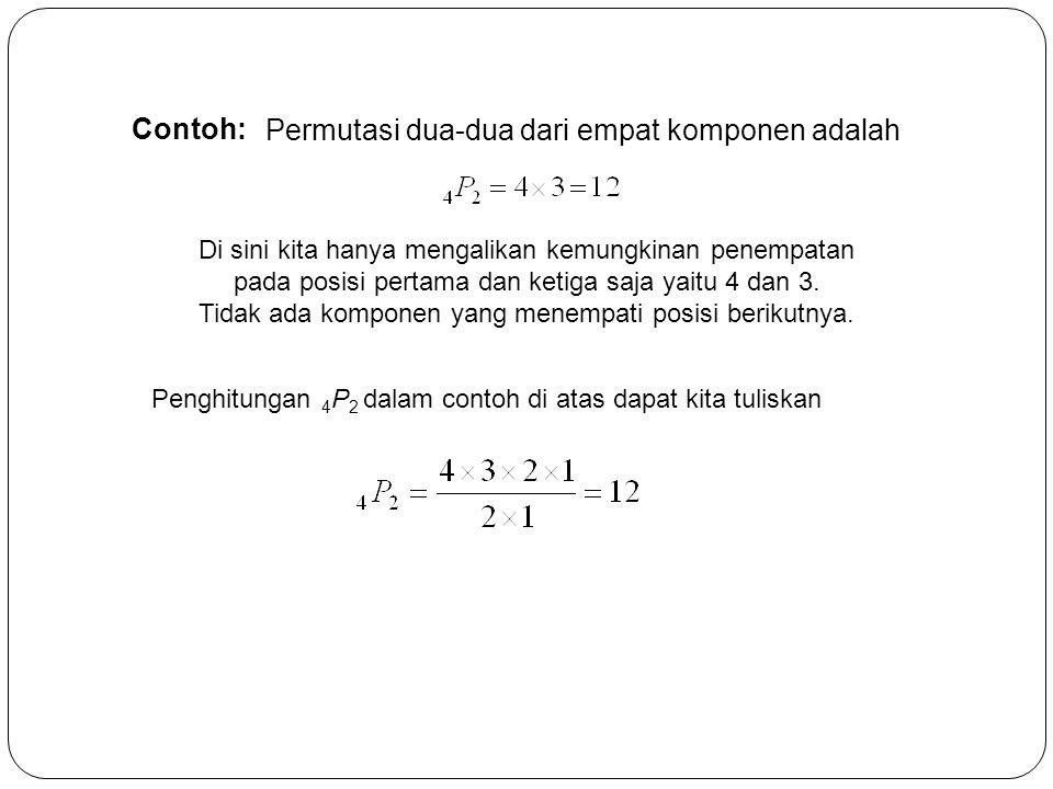 Contoh: Permutasi dua-dua dari empat komponen adalah Di sini kita hanya mengalikan kemungkinan penempatan pada posisi pertama dan ketiga saja yaitu 4
