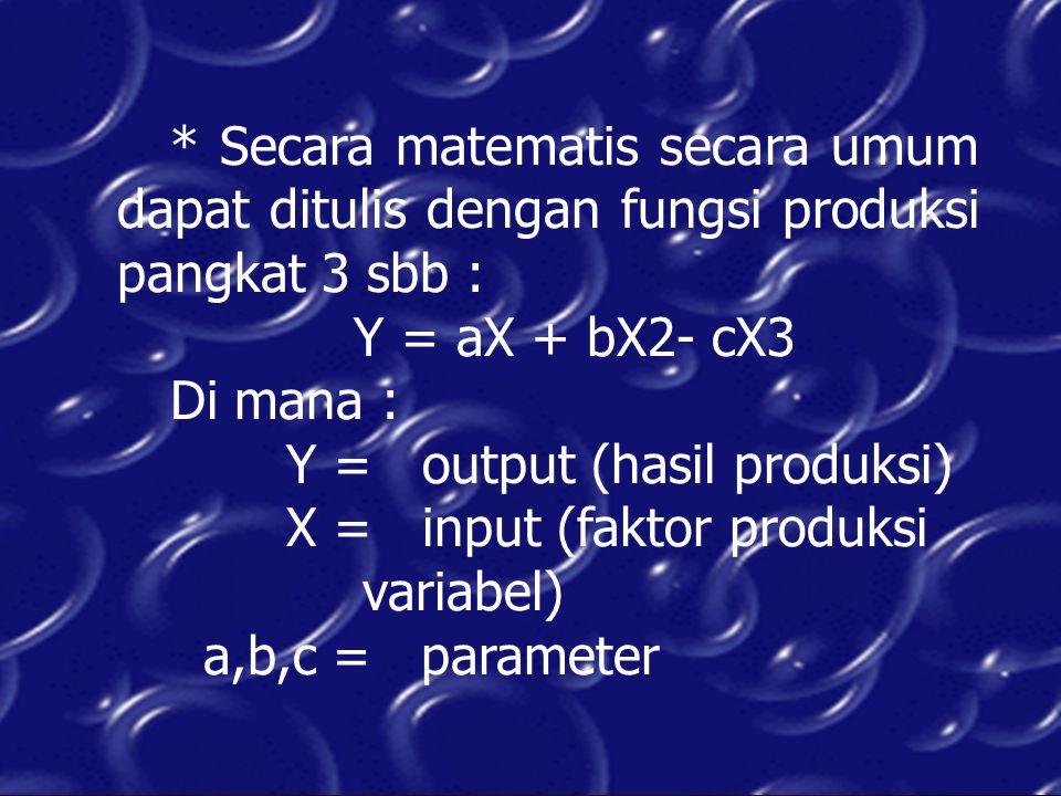 * Secara matematis secara umum dapat ditulis dengan fungsi produksi pangkat 3 sbb : Y = aX + bX2- cX3 Di mana : Y = output (hasil produksi) X = input