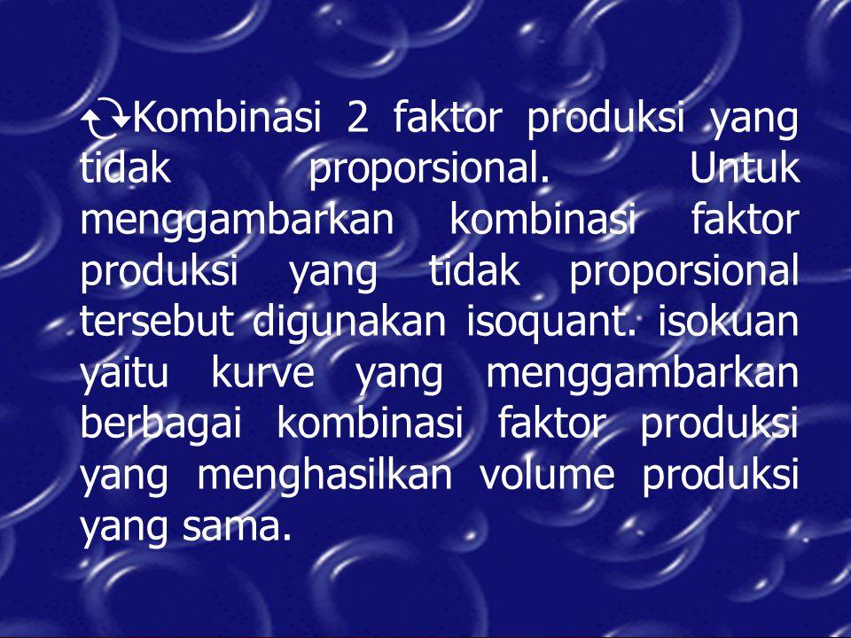  Kombinasi 2 faktor produksi yang tidak proporsional. Untuk menggambarkan kombinasi faktor produksi yang tidak proporsional tersebut digunakan isoqua