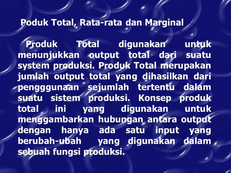 Poduk Total, Rata-rata dan Marginal Produk Total digunakan untuk menunjukkan output total dari suatu system produksi. Produk Total merupakan jumlah ou