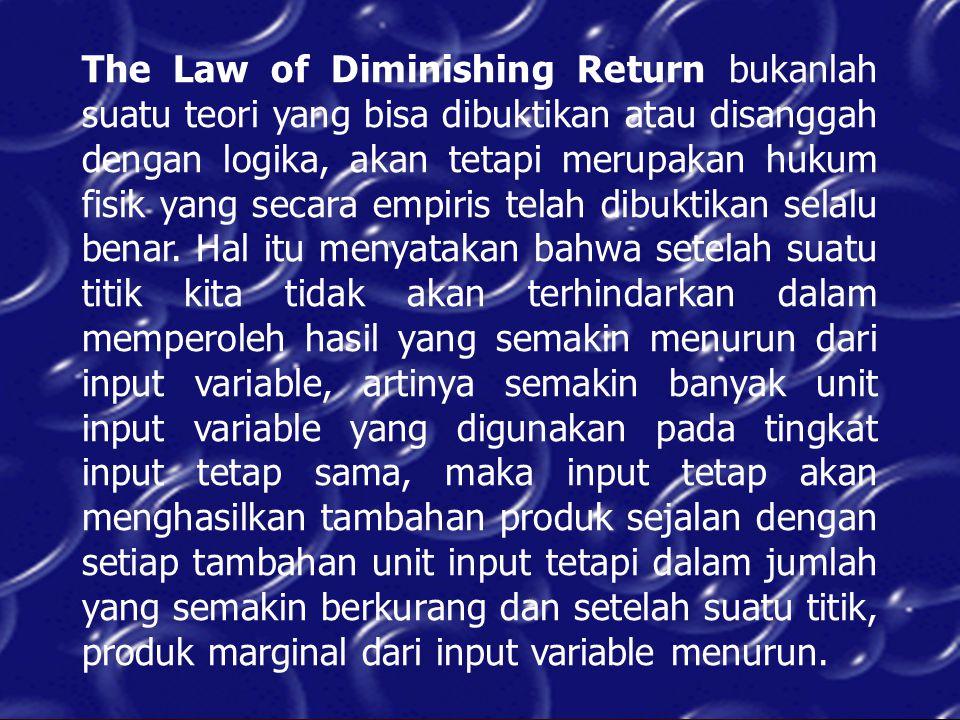 The Law of Diminishing Return bukanlah suatu teori yang bisa dibuktikan atau disanggah dengan logika, akan tetapi merupakan hukum fisik yang secara em
