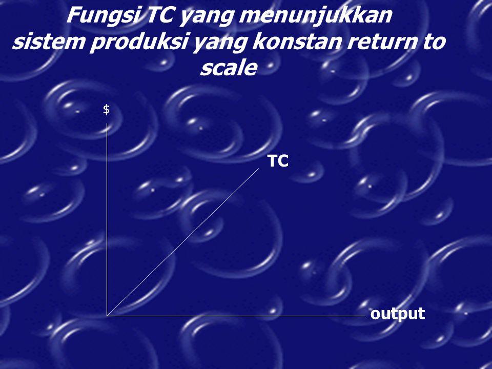 Fungsi TC yang menunjukkan sistem produksi yang konstan return to scale $ output TC