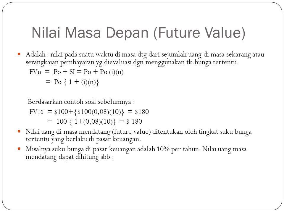 Nilai Masa Depan (Future Value)  Adalah : nilai pada suatu waktu di masa dtg dari sejumlah uang di masa sekarang atau serangkaian pembayaran yg dievaluasi dgn menggunakan tk.bunga tertentu.
