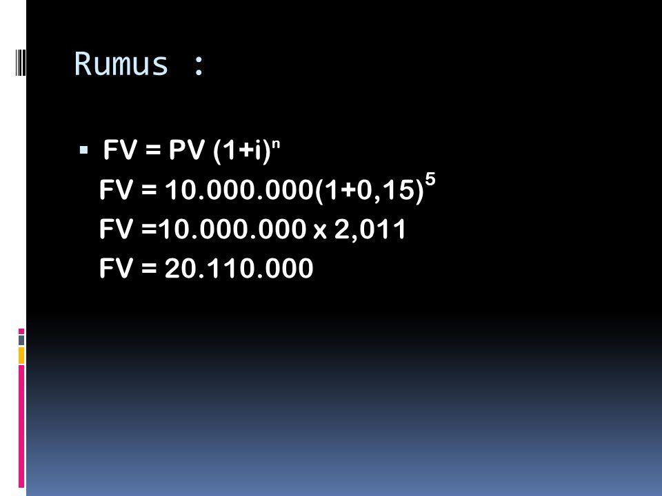 Rumus :  FV = PV (1+i) n FV = 10.000.000(1+0,15) 5 FV =10.000.000 x 2,011 FV = 20.110.000