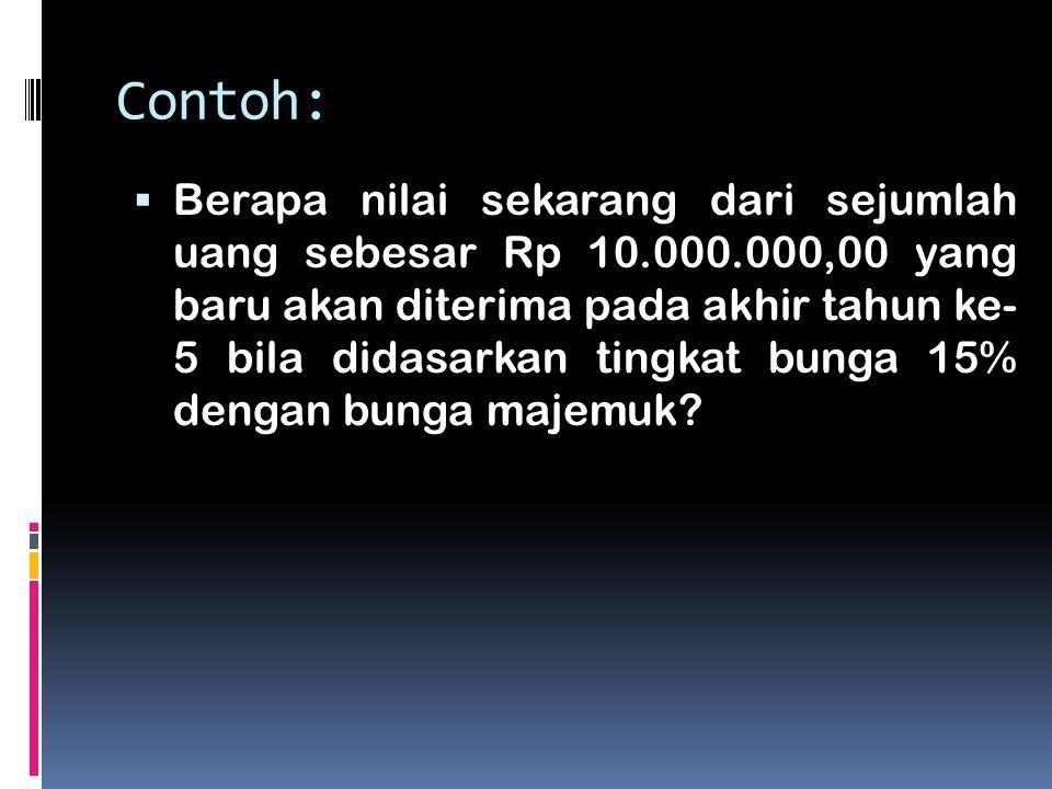 Contoh:  Berapa nilai sekarang dari sejumlah uang sebesar Rp 10.000.000,00 yang baru akan diterima pada akhir tahun ke- 5 bila didasarkan tingkat bun