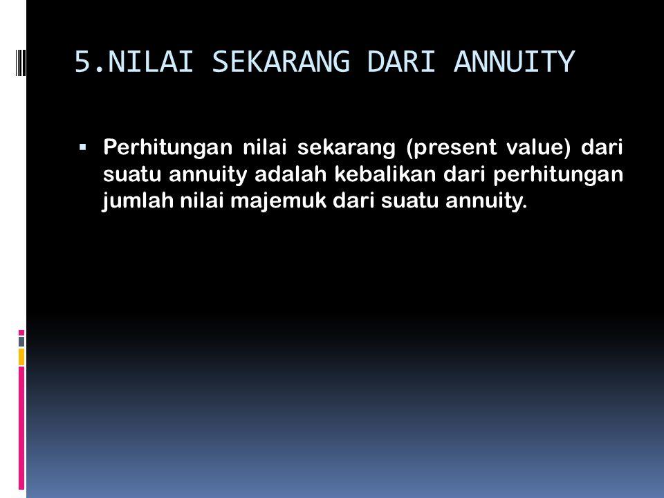 5.NILAI SEKARANG DARI ANNUITY  Perhitungan nilai sekarang (present value) dari suatu annuity adalah kebalikan dari perhitungan jumlah nilai majemuk d