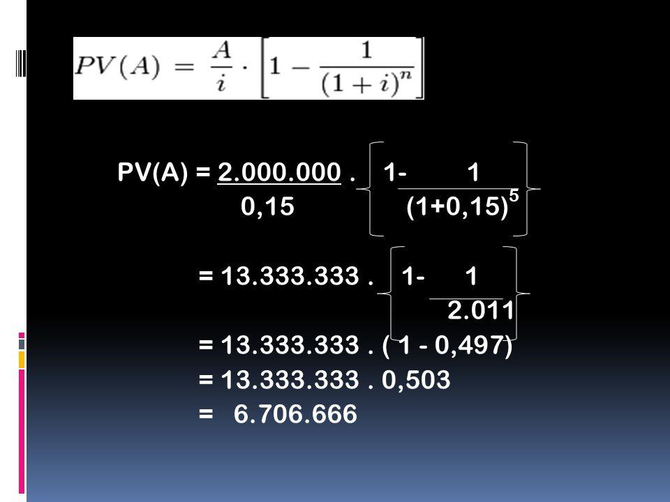 PV(A) = 2.000.000. 1- 1 0,15 (1+0,15) 5 = 13.333.333. 1- 1 2.011 = 13.333.333. ( 1 - 0,497) = 13.333.333. 0,503 = 6.706.666