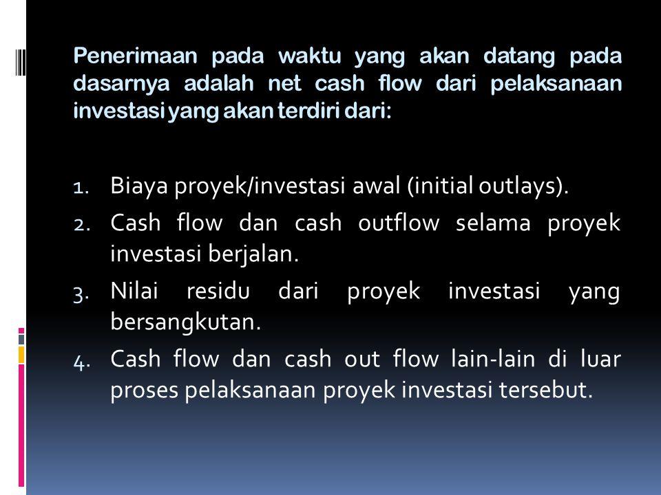 Penerimaan pada waktu yang akan datang pada dasarnya adalah net cash flow dari pelaksanaan investasi yang akan terdiri dari: 1. Biaya proyek/investasi