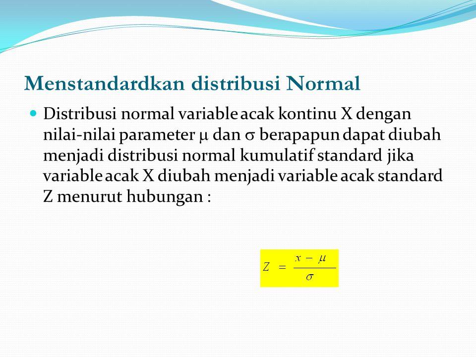 Menstandardkan distribusi Normal  Distribusi normal variable acak kontinu X dengan nilai-nilai parameter  dan  berapapun dapat diubah menjadi distr