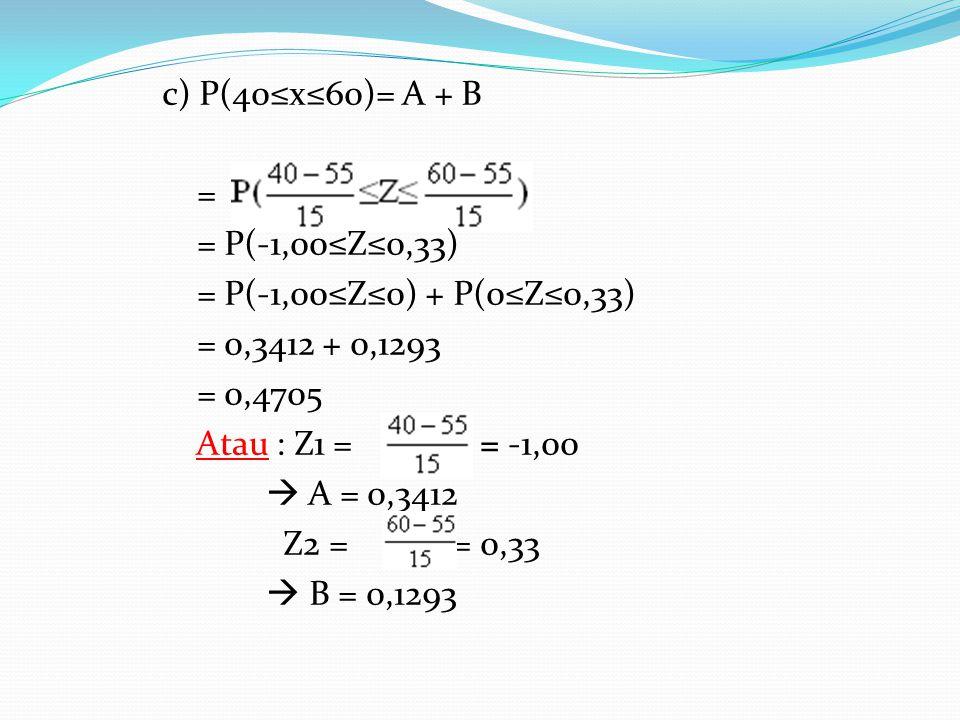 c) P(40≤x≤60)= A + B = = P(-1,00≤Z≤0,33) = P(-1,00≤Z≤0) + P(0≤Z≤0,33) = 0,3412 + 0,1293 = 0,4705 Atau : Z1 = = = -1,00  A = 0,3412 Z2 = = 0,33  B =