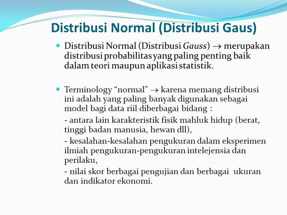Distribusi Normal (Distribusi Gaus)  Distribusi Normal (Distribusi Gauss)  merupakan distribusi probabilitas yang paling penting baik dalam teori ma