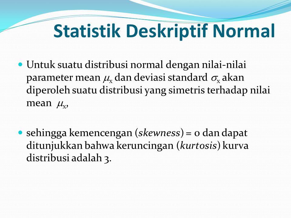 Statistik Deskriptif Normal  Untuk suatu distribusi normal dengan nilai-nilai parameter mean  x dan deviasi standard  x akan diperoleh suatu distri