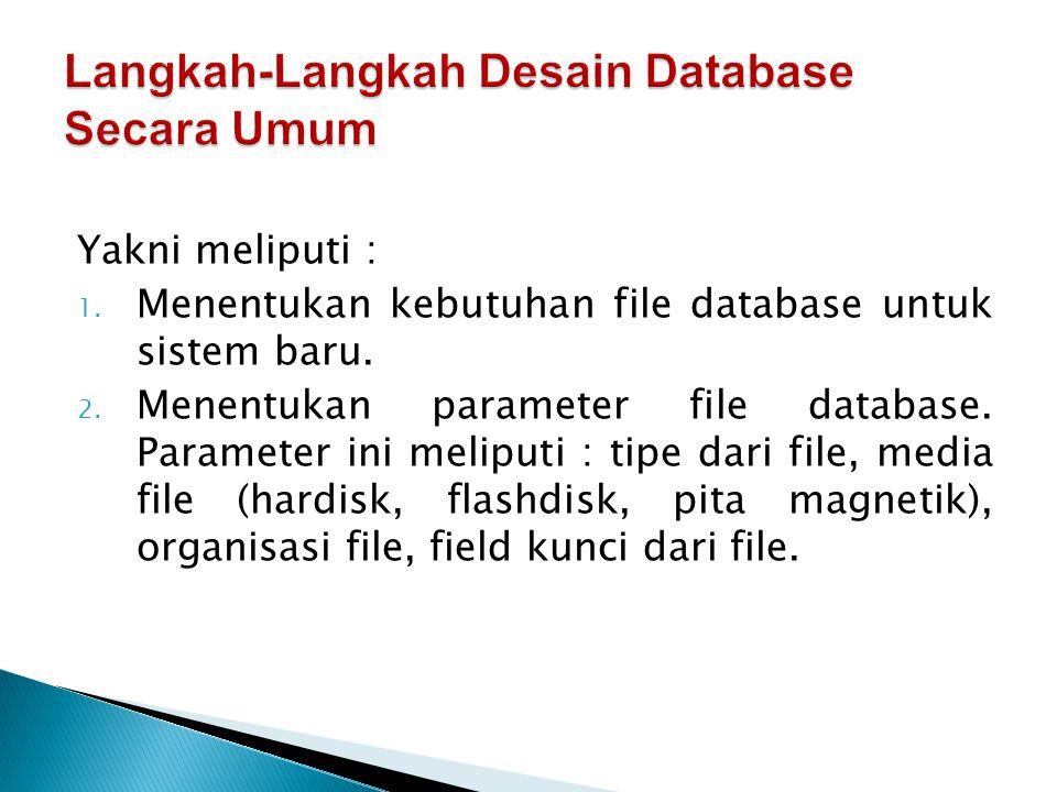 Yakni meliputi : 1.Menentukan kebutuhan file database untuk sistem baru.