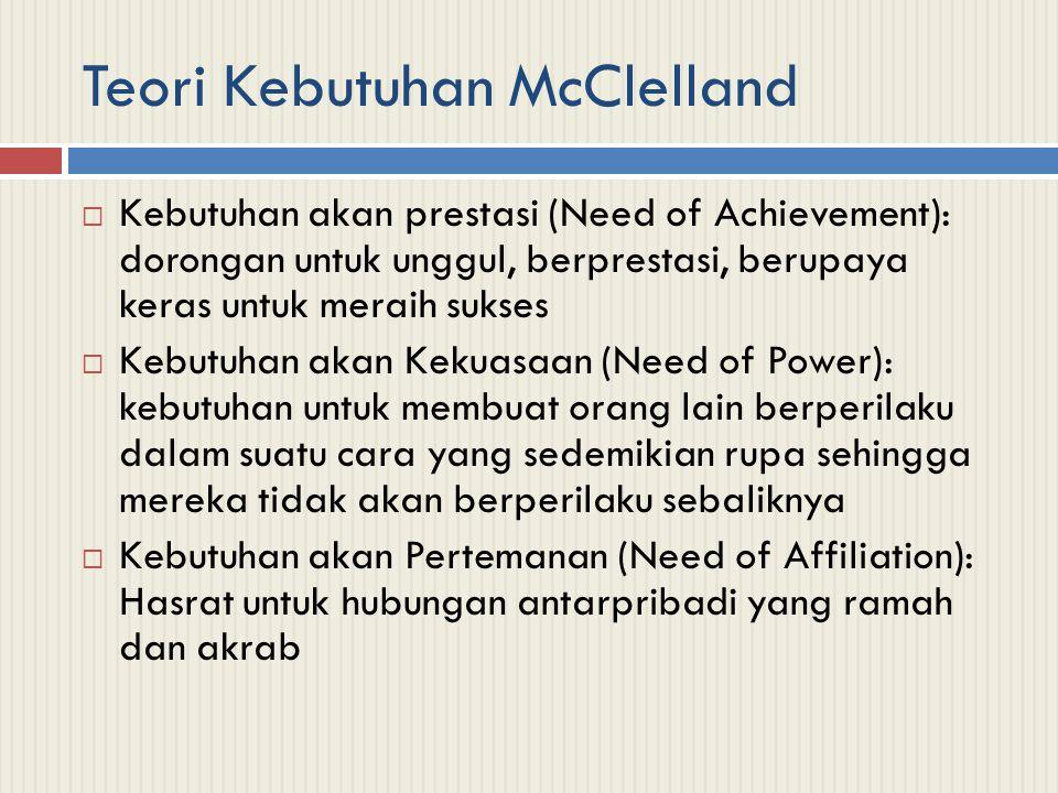 Teori Kebutuhan McClelland  Kebutuhan akan prestasi (Need of Achievement): dorongan untuk unggul, berprestasi, berupaya keras untuk meraih sukses  K
