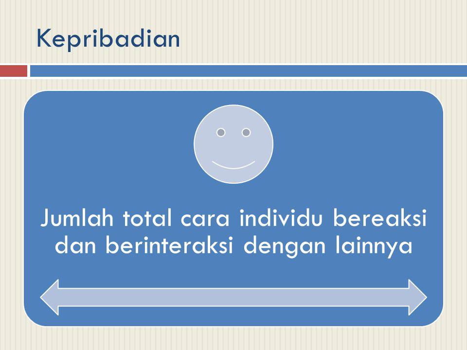 Kepribadian Jumlah total cara individu bereaksi dan berinteraksi dengan lainnya