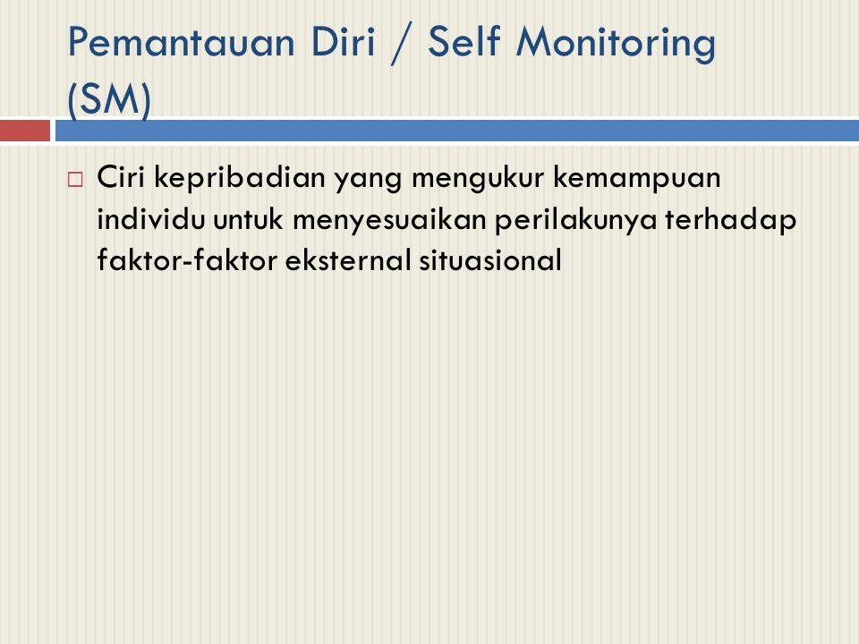 Pemantauan Diri / Self Monitoring (SM)  Ciri kepribadian yang mengukur kemampuan individu untuk menyesuaikan perilakunya terhadap faktor-faktor ekste