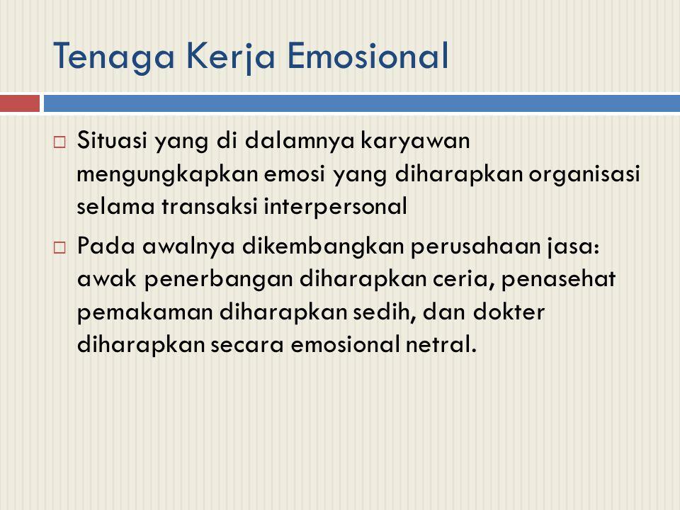 Tenaga Kerja Emosional  Situasi yang di dalamnya karyawan mengungkapkan emosi yang diharapkan organisasi selama transaksi interpersonal  Pada awalny