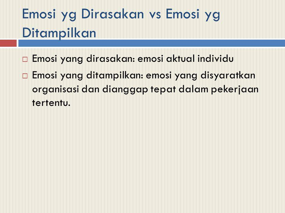 Emosi yg Dirasakan vs Emosi yg Ditampilkan  Emosi yang dirasakan: emosi aktual individu  Emosi yang ditampilkan: emosi yang disyaratkan organisasi d
