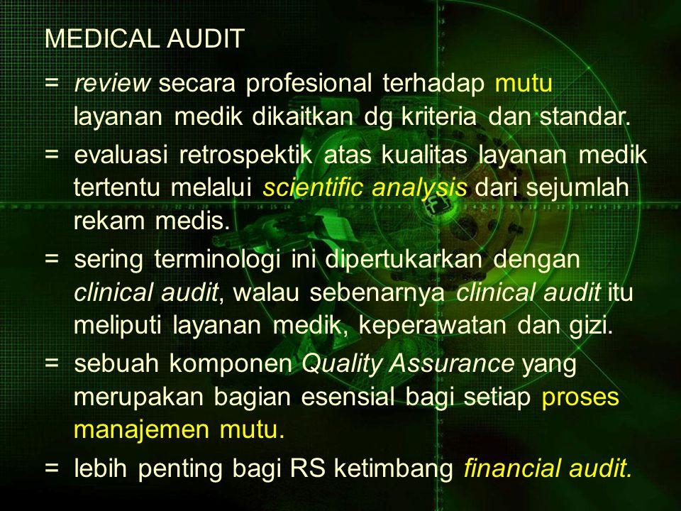 MEDICAL AUDIT = review secara profesional terhadap mutu layanan medik dikaitkan dg kriteria dan standar. = evaluasi retrospektik atas kualitas layanan