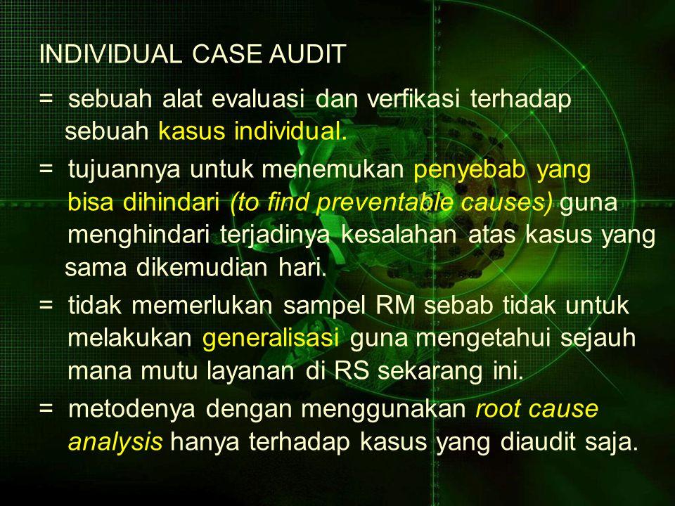 INDIVIDUAL CASE AUDIT = sebuah alat evaluasi dan verfikasi terhadap sebuah kasus individual. = tujuannya untuk menemukan penyebab yang bisa dihindari