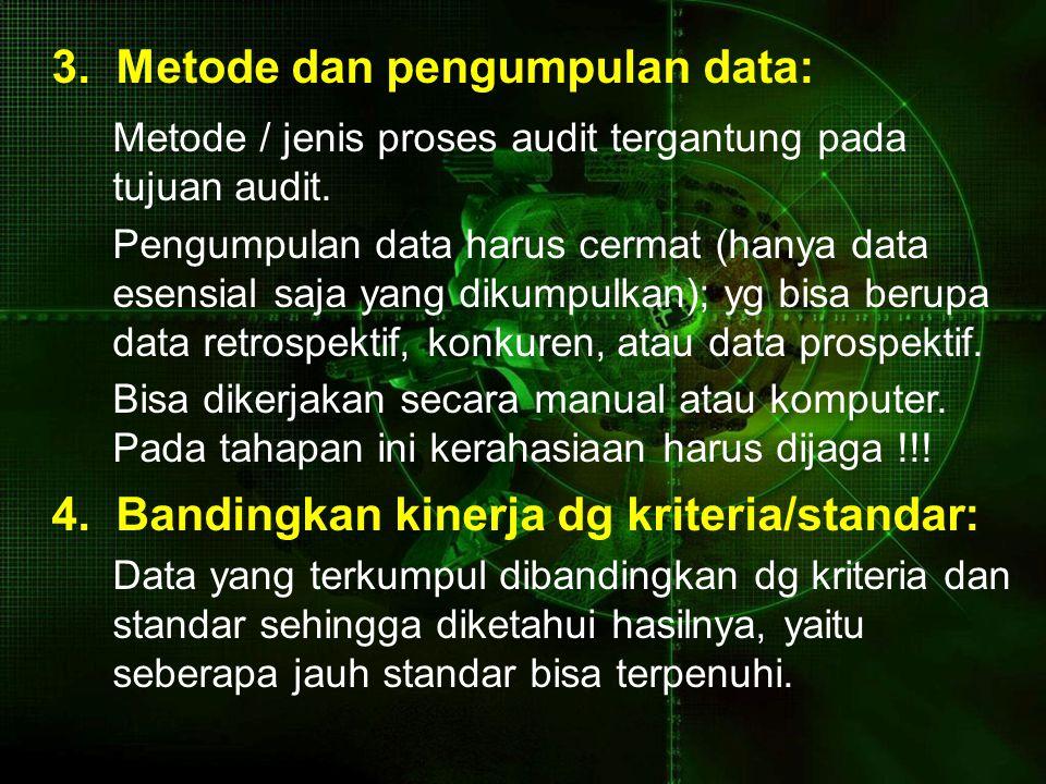 3. Metode dan pengumpulan data: Metode / jenis proses audit tergantung pada tujuan audit. Pengumpulan data harus cermat (hanya data esensial saja yang