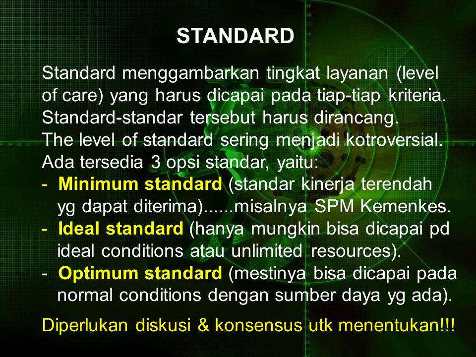 STANDARD Standard menggambarkan tingkat layanan (level of care) yang harus dicapai pada tiap-tiap kriteria. Standard-standar tersebut harus dirancang.