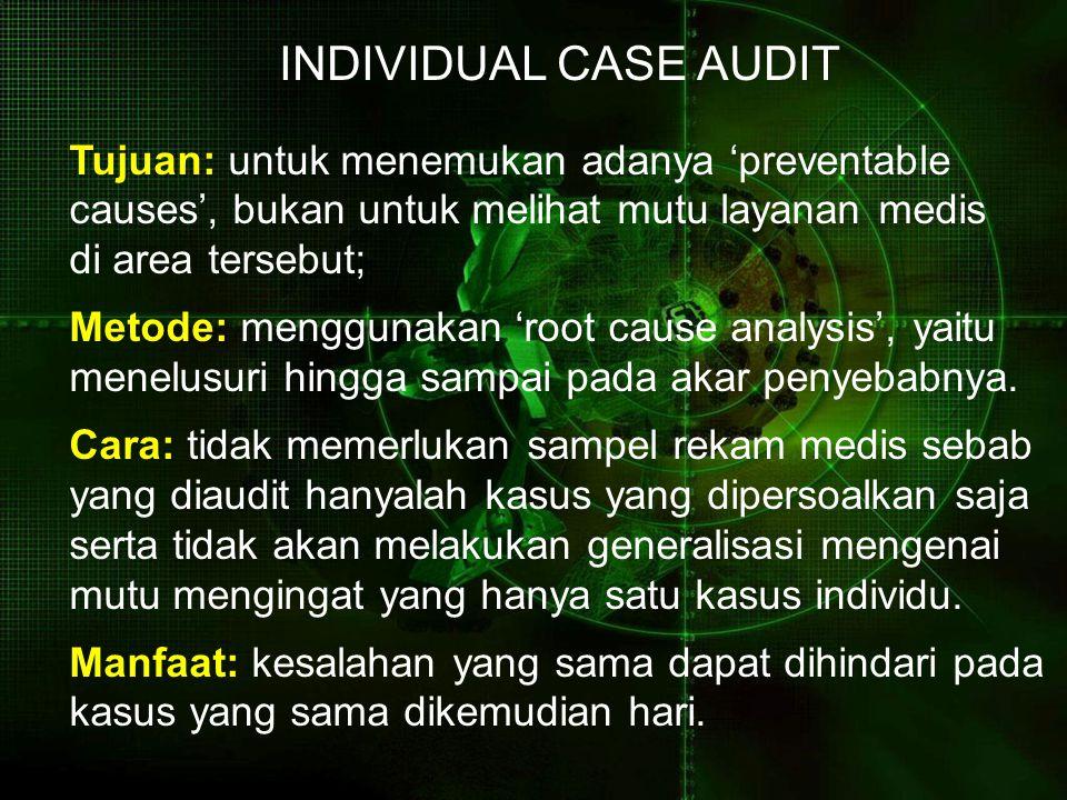 Tujuan: untuk menemukan adanya 'preventable causes', bukan untuk melihat mutu layanan medis di area tersebut; Metode: menggunakan 'root cause analysis