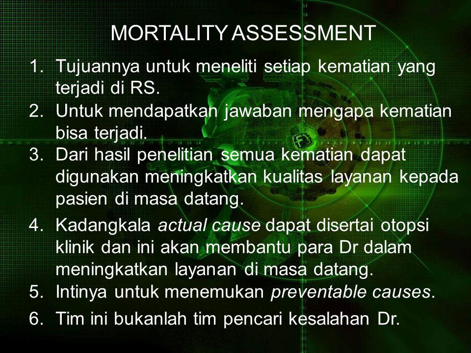 MORTALITY ASSESSMENT 1.Tujuannya untuk meneliti setiap kematian yang terjadi di RS. 2.Untuk mendapatkan jawaban mengapa kematian bisa terjadi. 3.Dari