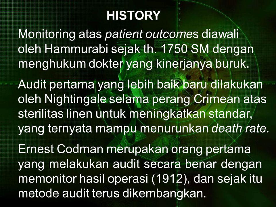 HISTORY Monitoring atas patient outcomes diawali oleh Hammurabi sejak th. 1750 SM dengan menghukum dokter yang kinerjanya buruk. Audit pertama yang le