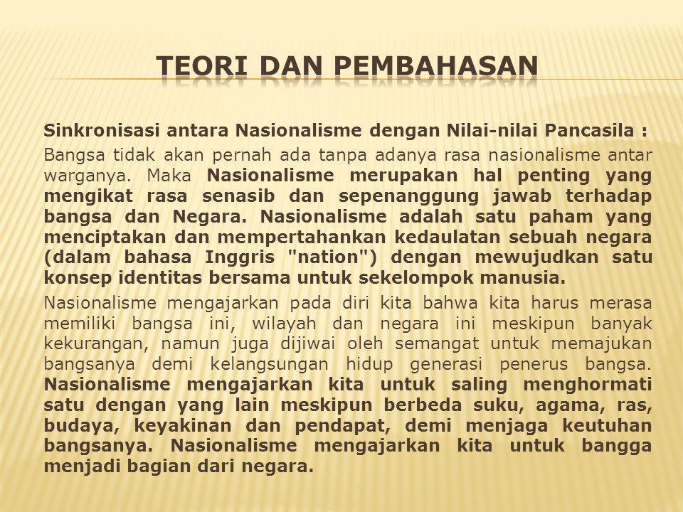 Sinkronisasi antara Nasionalisme dengan Nilai-nilai Pancasila : Bangsa tidak akan pernah ada tanpa adanya rasa nasionalisme antar warganya.