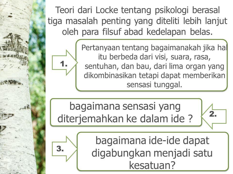 Teori dari Locke tentang psikologi berasal tiga masalah penting yang diteliti lebih lanjut oleh para filsuf abad kedelapan belas.