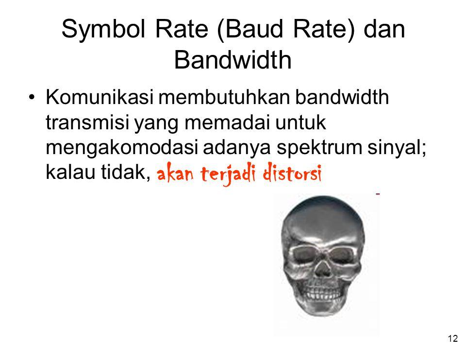 12 Symbol Rate (Baud Rate) dan Bandwidth •Komunikasi membutuhkan bandwidth transmisi yang memadai untuk mengakomodasi adanya spektrum sinyal; kalau tidak, akan terjadi distorsi