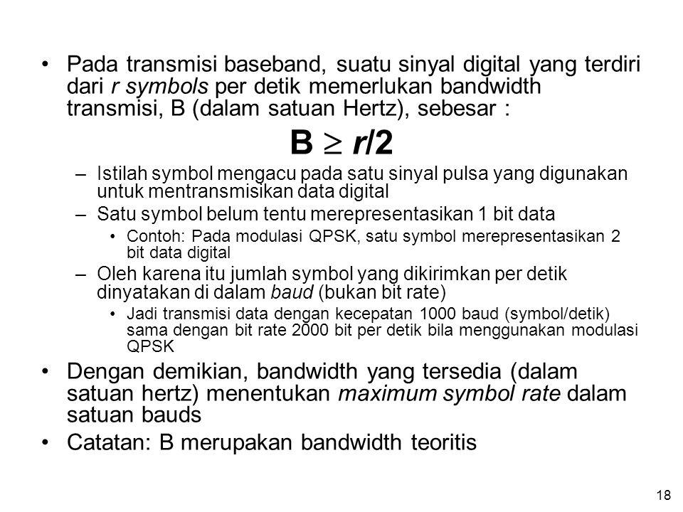 18 •Pada transmisi baseband, suatu sinyal digital yang terdiri dari r symbols per detik memerlukan bandwidth transmisi, B (dalam satuan Hertz), sebesar : B  r/2 –Istilah symbol mengacu pada satu sinyal pulsa yang digunakan untuk mentransmisikan data digital –Satu symbol belum tentu merepresentasikan 1 bit data •Contoh: Pada modulasi QPSK, satu symbol merepresentasikan 2 bit data digital –Oleh karena itu jumlah symbol yang dikirimkan per detik dinyatakan di dalam baud (bukan bit rate) •Jadi transmisi data dengan kecepatan 1000 baud (symbol/detik) sama dengan bit rate 2000 bit per detik bila menggunakan modulasi QPSK •Dengan demikian, bandwidth yang tersedia (dalam satuan hertz) menentukan maximum symbol rate dalam satuan bauds •Catatan: B merupakan bandwidth teoritis