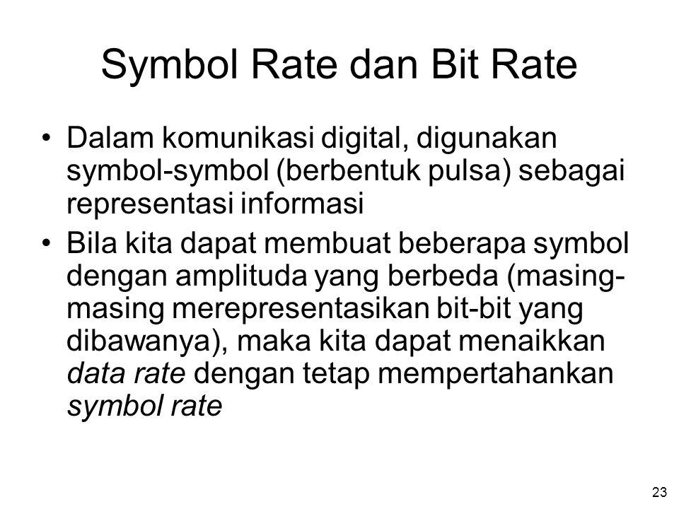 23 Symbol Rate dan Bit Rate •Dalam komunikasi digital, digunakan symbol-symbol (berbentuk pulsa) sebagai representasi informasi •Bila kita dapat membuat beberapa symbol dengan amplituda yang berbeda (masing- masing merepresentasikan bit-bit yang dibawanya), maka kita dapat menaikkan data rate dengan tetap mempertahankan symbol rate