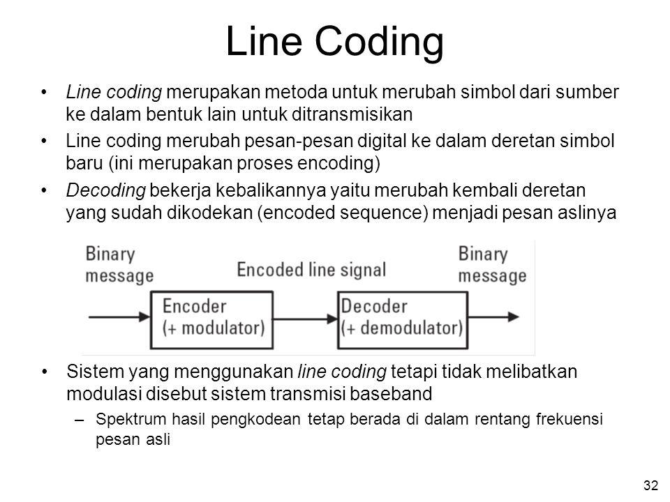 32 Line Coding •Line coding merupakan metoda untuk merubah simbol dari sumber ke dalam bentuk lain untuk ditransmisikan •Line coding merubah pesan-pesan digital ke dalam deretan simbol baru (ini merupakan proses encoding) •Decoding bekerja kebalikannya yaitu merubah kembali deretan yang sudah dikodekan (encoded sequence) menjadi pesan aslinya •Sistem yang menggunakan line coding tetapi tidak melibatkan modulasi disebut sistem transmisi baseband –Spektrum hasil pengkodean tetap berada di dalam rentang frekuensi pesan asli