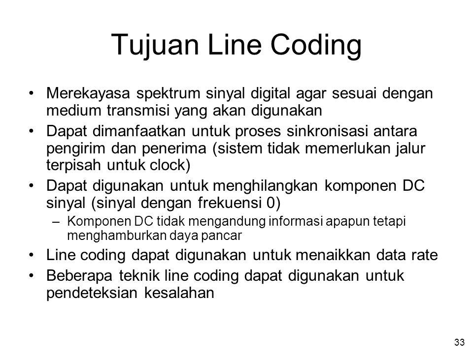 33 Tujuan Line Coding •Merekayasa spektrum sinyal digital agar sesuai dengan medium transmisi yang akan digunakan •Dapat dimanfaatkan untuk proses sinkronisasi antara pengirim dan penerima (sistem tidak memerlukan jalur terpisah untuk clock) •Dapat digunakan untuk menghilangkan komponen DC sinyal (sinyal dengan frekuensi 0) –Komponen DC tidak mengandung informasi apapun tetapi menghamburkan daya pancar •Line coding dapat digunakan untuk menaikkan data rate •Beberapa teknik line coding dapat digunakan untuk pendeteksian kesalahan