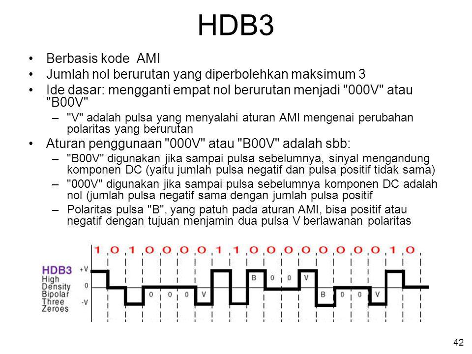 42 HDB3 •Berbasis kode AMI •Jumlah nol berurutan yang diperbolehkan maksimum 3 •Ide dasar: mengganti empat nol berurutan menjadi 000V atau B00V – V adalah pulsa yang menyalahi aturan AMI mengenai perubahan polaritas yang berurutan •Aturan penggunaan 000V atau B00V adalah sbb: – B00V digunakan jika sampai pulsa sebelumnya, sinyal mengandung komponen DC (yaitu jumlah pulsa negatif dan pulsa positif tidak sama) – 000V digunakan jika sampai pulsa sebelumnya komponen DC adalah nol (jumlah pulsa negatif sama dengan jumlah pulsa positif –Polaritas pulsa B , yang patuh pada aturan AMI, bisa positif atau negatif dengan tujuan menjamin dua pulsa V berlawanan polaritas