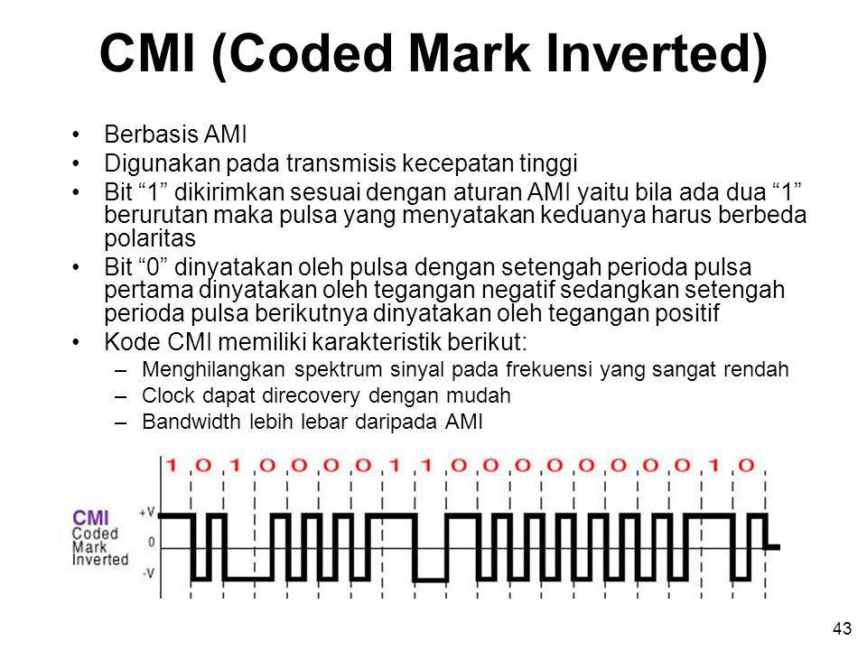43 CMI (Coded Mark Inverted) •Berbasis AMI •Digunakan pada transmisis kecepatan tinggi •Bit 1 dikirimkan sesuai dengan aturan AMI yaitu bila ada dua 1 berurutan maka pulsa yang menyatakan keduanya harus berbeda polaritas •Bit 0 dinyatakan oleh pulsa dengan setengah perioda pulsa pertama dinyatakan oleh tegangan negatif sedangkan setengah perioda pulsa berikutnya dinyatakan oleh tegangan positif •Kode CMI memiliki karakteristik berikut: –Menghilangkan spektrum sinyal pada frekuensi yang sangat rendah –Clock dapat direcovery dengan mudah –Bandwidth lebih lebar daripada AMI