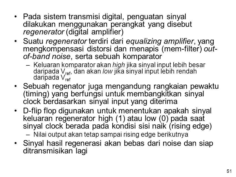 51 •Pada sistem transmisi digital, penguatan sinyal dilakukan menggunakan perangkat yang disebut regenerator (digital amplifier) •Suatu regenerator terdiri dari equalizing amplifier, yang mengkompensasi distorsi dan menapis (mem-filter) out- of-band noise, serta sebuah komparator –Keluaran komparator akan high jika sinyal input lebih besar daripada V ref, dan akan low jika sinyal input lebih rendah daripada V ref •Sebuah regenator juga mengandung rangkaian pewaktu (timing) yang berfungsi untuk membangkitkan sinyal clock berdasarkan sinyal input yang diterima •D-flip flop digunakan untuk menentukan apakah sinyal keluaran regenerator high (1) atau low (0) pada saat sinyal clock berada pada kondisi sisi naik (rising edge) –Nilai output akan tetap sampai rising edge berikutnya •Sinyal hasil regenerasi akan bebas dari noise dan siap ditransmisikan lagi