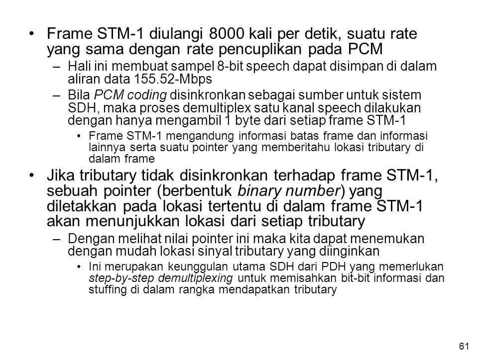 61 •Frame STM-1 diulangi 8000 kali per detik, suatu rate yang sama dengan rate pencuplikan pada PCM –Hali ini membuat sampel 8-bit speech dapat disimpan di dalam aliran data 155.52-Mbps –Bila PCM coding disinkronkan sebagai sumber untuk sistem SDH, maka proses demultiplex satu kanal speech dilakukan dengan hanya mengambil 1 byte dari setiap frame STM-1 •Frame STM-1 mengandung informasi batas frame dan informasi lainnya serta suatu pointer yang memberitahu lokasi tributary di dalam frame •Jika tributary tidak disinkronkan terhadap frame STM-1, sebuah pointer (berbentuk binary number) yang diletakkan pada lokasi tertentu di dalam frame STM-1 akan menunjukkan lokasi dari setiap tributary –Dengan melihat nilai pointer ini maka kita dapat menemukan dengan mudah lokasi sinyal tributary yang diinginkan •Ini merupakan keunggulan utama SDH dari PDH yang memerlukan step-by-step demultiplexing untuk memisahkan bit-bit informasi dan stuffing di dalam rangka mendapatkan tributary