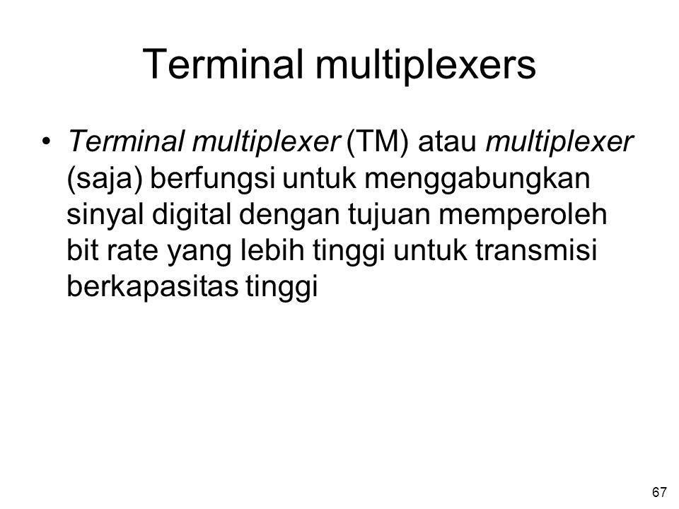 67 Terminal multiplexers •Terminal multiplexer (TM) atau multiplexer (saja) berfungsi untuk menggabungkan sinyal digital dengan tujuan memperoleh bit rate yang lebih tinggi untuk transmisi berkapasitas tinggi
