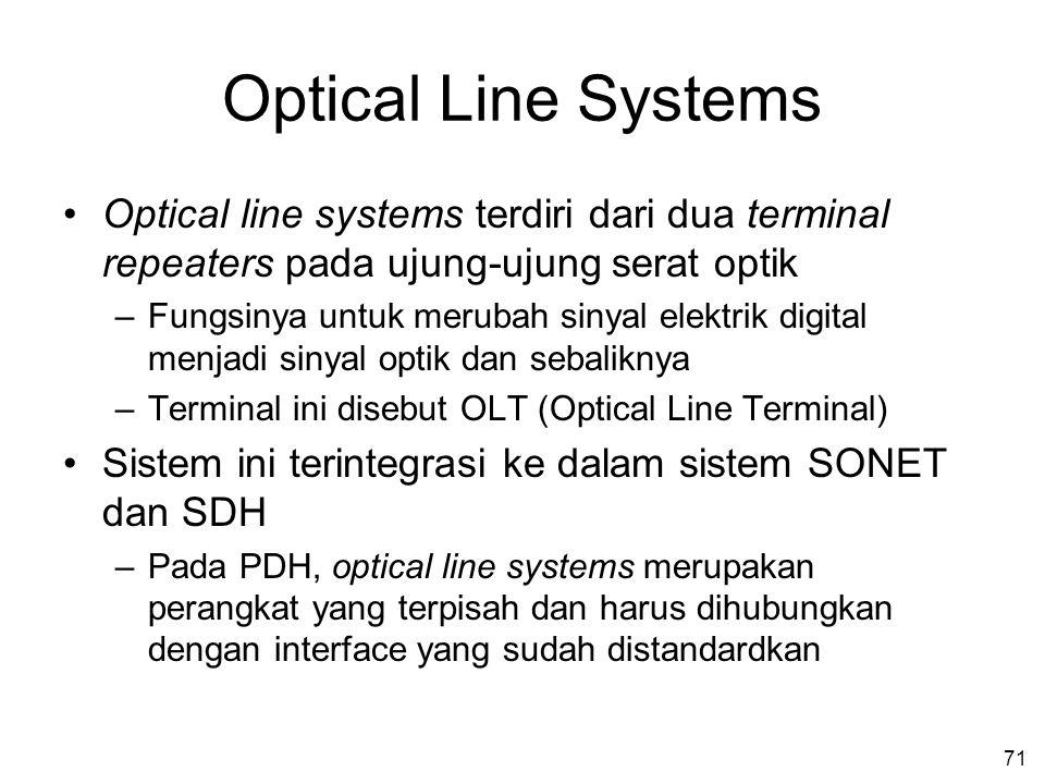 71 Optical Line Systems •Optical line systems terdiri dari dua terminal repeaters pada ujung-ujung serat optik –Fungsinya untuk merubah sinyal elektrik digital menjadi sinyal optik dan sebaliknya –Terminal ini disebut OLT (Optical Line Terminal) •Sistem ini terintegrasi ke dalam sistem SONET dan SDH –Pada PDH, optical line systems merupakan perangkat yang terpisah dan harus dihubungkan dengan interface yang sudah distandardkan